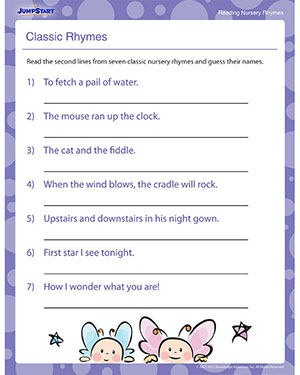 Classic Rhymes - Free Reading Worksheets for Preschool