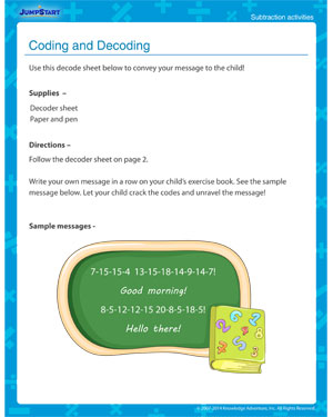 Coding and Decoding - Free subtraction activity