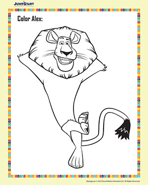 Color Alex 4 - Madagascar Coloring Worksheet