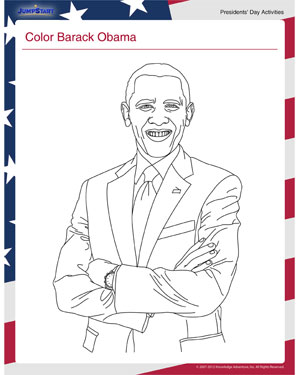 Color Barack Obama - See this Interesting Presidents' Day Activity