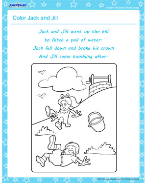 Color Jack and Jill - Nursery Rhymes Worksheet for your little one