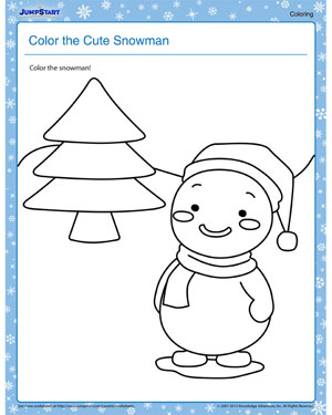 Color the Cute Snowman - Free Winter Coloring Worksheet for Kids