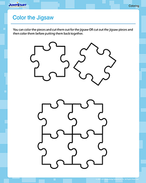 Color the Jigsaw - Free Coloring Worksheet for Kindergarten