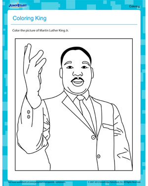 Coloring King - Free Printable MLKJ Worksheet for Kids