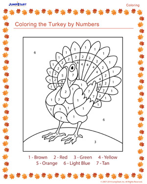 Coloring the Turkey by Numbers - Thanksgiving Coloring ...