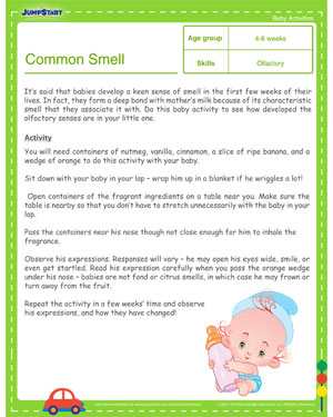 Common Smell - Free Learning Activities for Toddlers