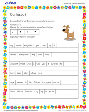 Confused? - Sentence writing worksheet for kids