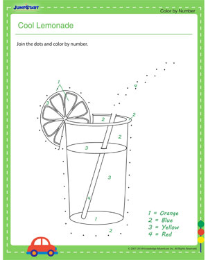 Cool Lemonade - dot to dot worksheets for kids