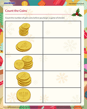 Count the Coins - Download the Hanukkah Worksheet
