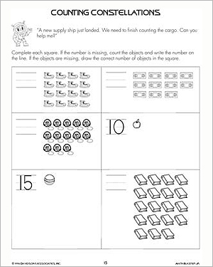 Number Names Worksheets counting worksheets for kindergarten free : Counting Constellations – Free Counting Worksheets for Kids ...