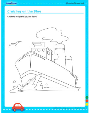 Cruising on the Blue - Coloring worksheet for kids