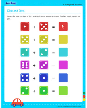 Dice and Dots - Free printable worksheet