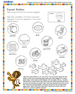 Digraph Bubbles - Free Reading Worksheet for 2nd Grade