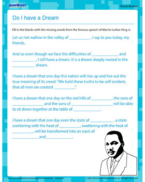 Do I Have a Dream - Free Printable MLKJ Worksheet for Kids