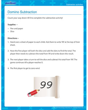 Domino Subtraction - Free subtraction activity