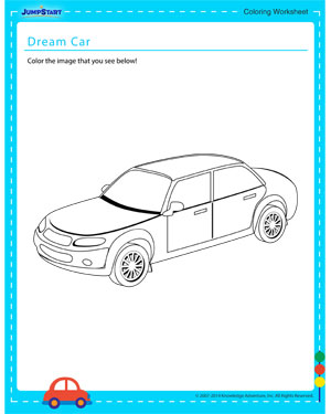 Dream Car - Coloring worksheet for kids