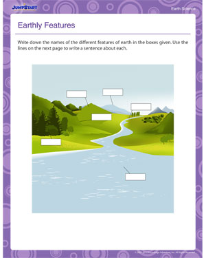 Earthly Features - Free Science Worksheet for 2nd Graders