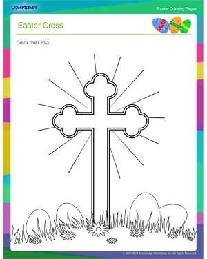 Easter Cross Coloring Page - Coloring Home | 375x300