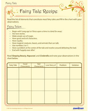 Fairy Tale Recipe - Printable English Worksheet for Grade 2