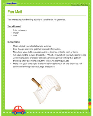 Fan Mail - Free Printable Handwriting Activity by JumpStart