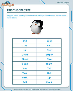 Find the Opposite - English Worksheet