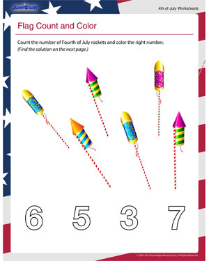 Flag Count and Color - Printable 4th of  July Worksheet for Math