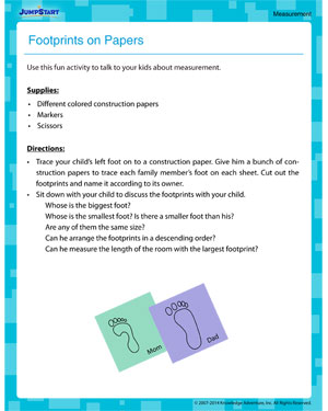 Footprints on Paper - Measurement activity for kids