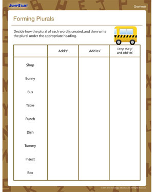 Forming Plurals – Printable Plurals Worksheet for Second Grade