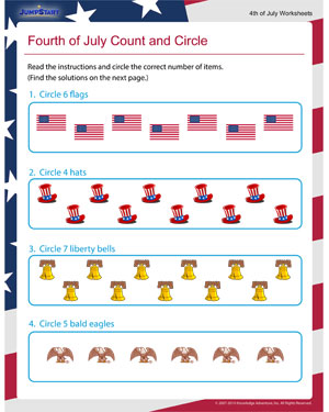 Fourth of July Count and Circle - Printable Free Worksheet for Fourth of July