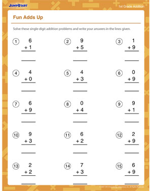 Fun Adds Up - Free Math Printable for Kids