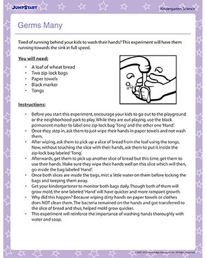 Germs Many - Printable Kindergarten Science Activity