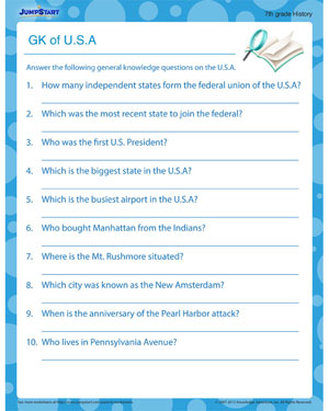 GK of USA - free social studies worksheet for download