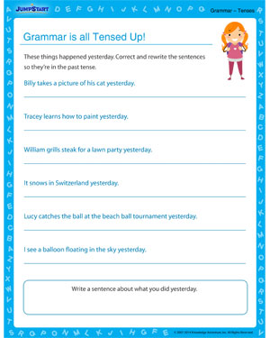 Grammar is All Tensed Up - Grammar worksheet for kids