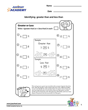 Number Names Worksheets greater than and less than worksheets : Greater or Less – 1st Grade Math Worksheets – JumpStart