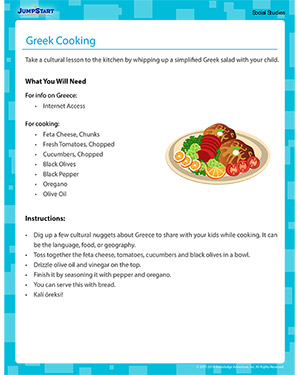 Greek Cooking - Social Studies activity for kids