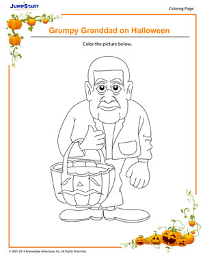 Grumpy Grandad on Halloween! - Halloween coloring pages for kids