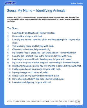Guess My Name – Identifying Animals - Free Science Worksheet for Preschoolers