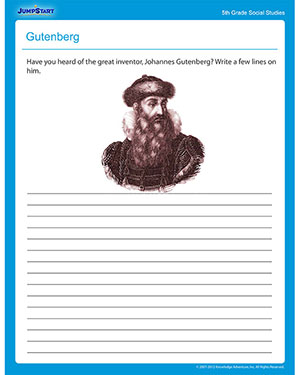 Gutenberg - Printable Social Studies Worksheet