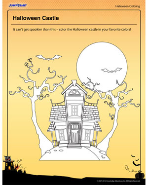 Halloween Castle - Free Halloween Coloring Page for Kids