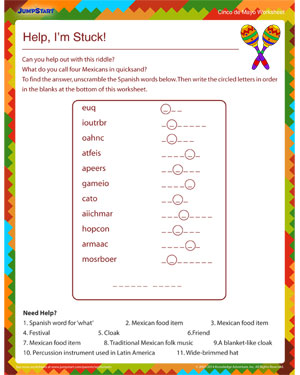 Help, I'm Stuck! - Free Cinco de Mayo worksheet for Kids