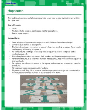 Hopscotch - Download this Fun Math Activity for your 7 year old!