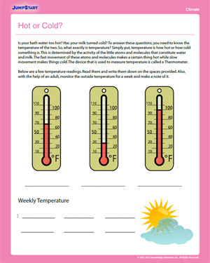 Hot or Cold? - Free Science Worksheet for 2nd Grade