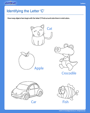 Identifying the Letter 'C' - Free Preschool Reading Worksheet