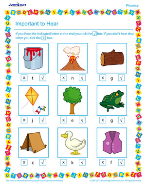 Important to Hear - Phonics PDF worksheet