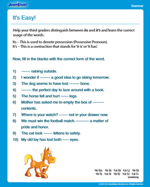 It's Easy! - Free Grammar Worksheet for 3rd Grade - JumpStart