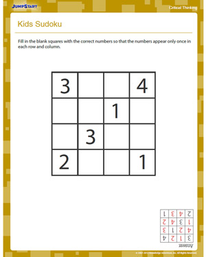 Kids Sudoku - Free Critical Thinking Worksheet for 2nd Grade