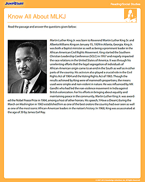 Know All About MLKJ - Fun Reading & Social Studies Worksheet for Kids