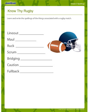 know Thy Rugby - Printable Spelling Worksheet