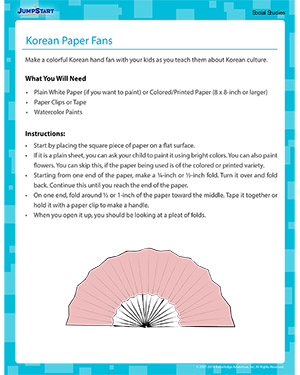 Korean Paper Fans - Social Studies activity for kids