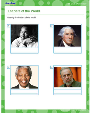 Leaders of the World - Printable World History Worksheet for Third Grade